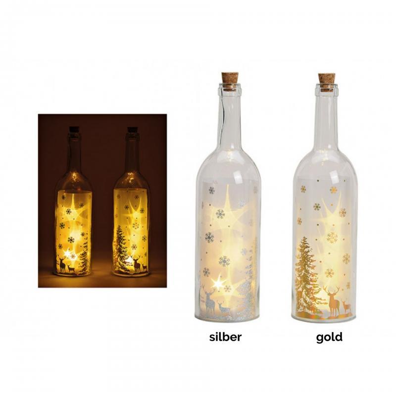 Glasflasche Winterwald mit LED Lichter