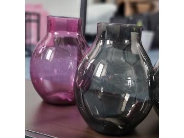Vase aus Glas - 32 cm - schwarz - pink