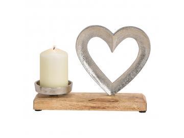 Herz mit Kerzenhalter aus Metall & Holz
